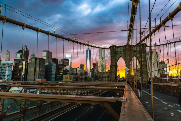 Manhattan, Manhattan Bridge, New York City, North America, NYC, One World Trade, Skyline, Sunset, Travel, United States
