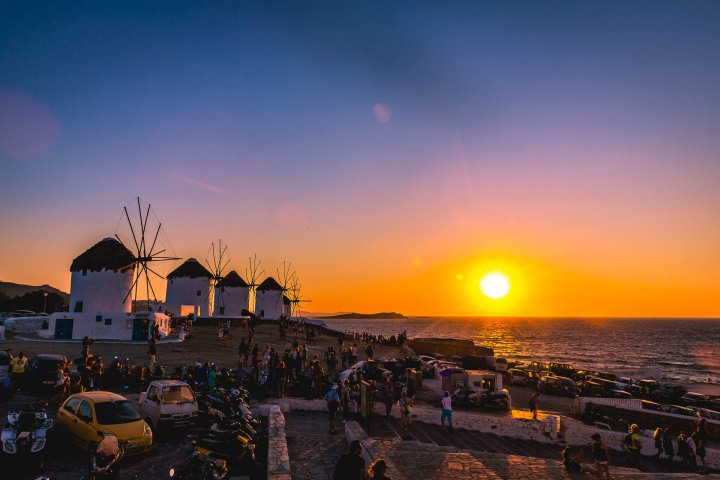 Europe, Greece, Mykonos, Sunset, Travel, Windmills