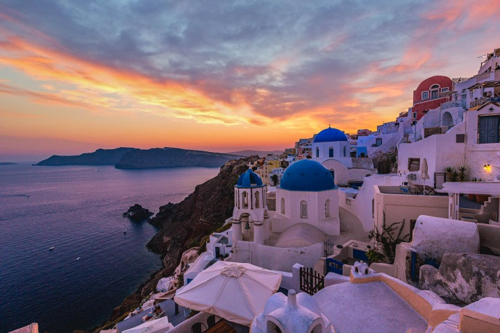 AGP Favorite, Blue domes, Europe, Greece, Oia, Santorini, Sunset, Three domes, Travel