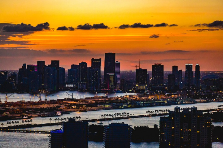 Aerial Photography, AGP Favorite, Downtown, Florida, Miami, North America, Skyline, Sunset, Travel, United States