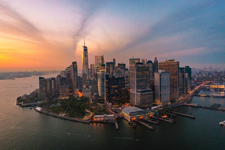 Aerial Photography, Manhattan, new York, New York City, North America, NYC, One World Trade Center, Skyline, Sunset, Travel, United States