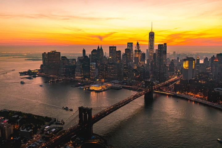 Aerial Photography, Brooklyn Bridge, Manhattan, new York, New York City, North America, NYC, One World Trade Center, Skyline, Sunset, Travel, United States