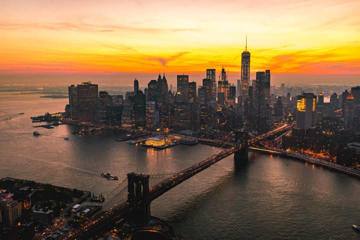 Aerial Photography, Brooklyn Bridge, Manhattan, new York, New York City, North America, NYC, One World Trade Center, Skyline, Sunset, Travel, United States