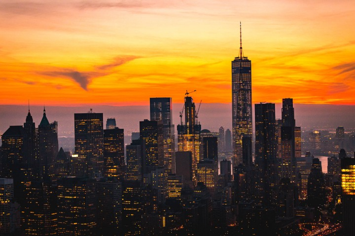 Aerial Photography, AGP Favorite, Manhattan, new York, New York City, North America, NYC, One World Trade Center, Skyline, Sunset, Travel, United States