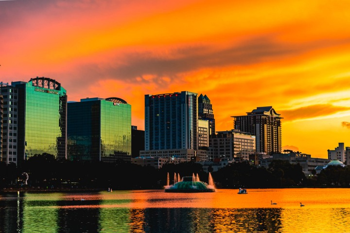 Downtown, Florida, Lake Eola, North America, Orlando, Skyline, Sunset, Travel, United States