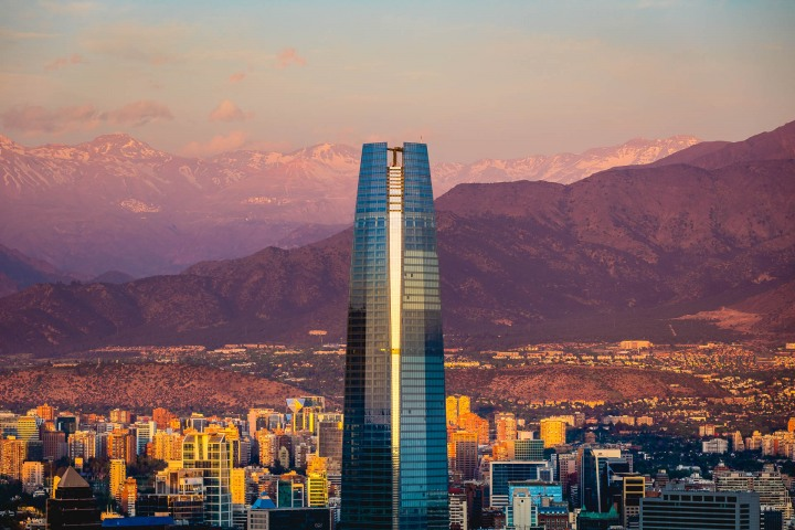 Chile, Downtown, Gran Torre Santiago, Santiago, Skyline, South America, Sunset, Travel
