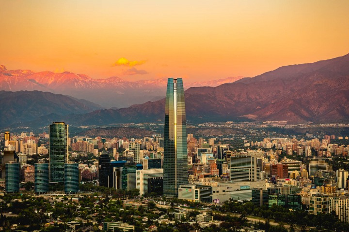 AGP Favorite, Chile, Downtown, Gran Torre Santiago, Santiago, Skyline, South America, Sunset, Travel