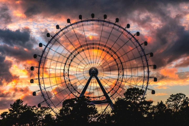 Florida, North America, Orlando, Orlando Eye, Sunset, Travel, United States