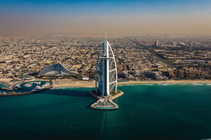 Aerial Photography, Burj Al Arab, Dubai, Middle East, Travel, United Arab Emirates