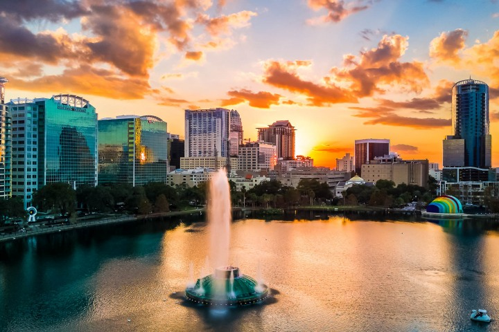 Aerial Photography, AGP Favorite, Downtown, Florida, North America, Orlando, Sunset, Travel