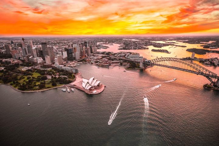 Aerial Photography, Australia, Harbor, Harbour Bridge, Skyline, Sunset, Sydney, Sydney Opera House, Travel