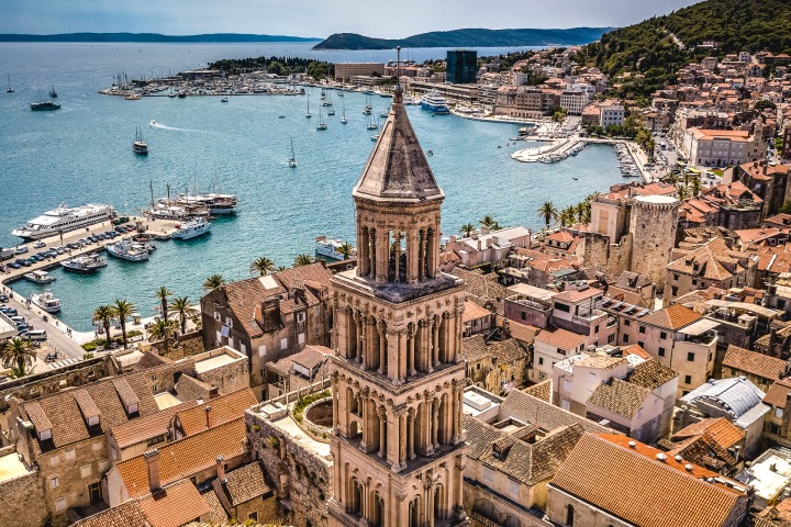 Aerial Photography, Croatia, Europe, Harbor, Saint Domnius Cathedral, Split, Travel