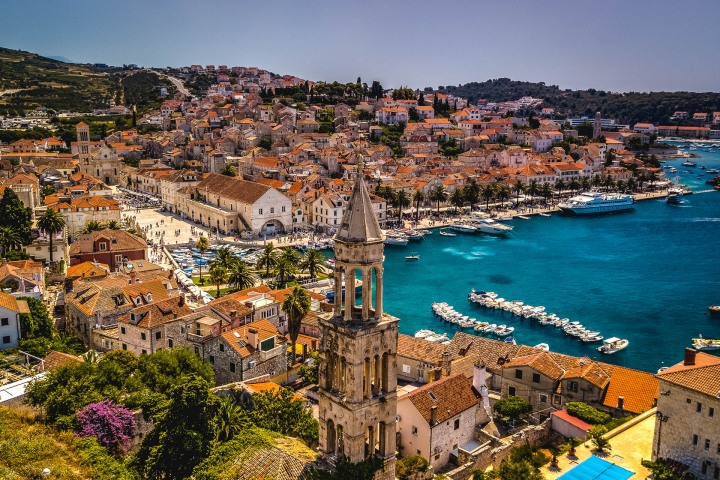 Aerial Photography, Croatia, Europe, Hvar, Port of Hvar, Travel