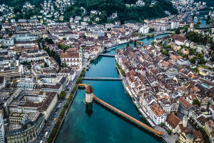 Aerial Photography, Chapel Bridge, Europe, Lake Lucerne, Lucerne, Switzerland, Travel