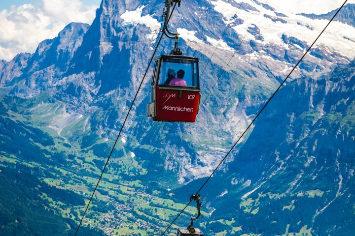 Europe, Gondola lift, Grindelwald, Interlaken, Männlichen, Mountains, Switzerland, Travel