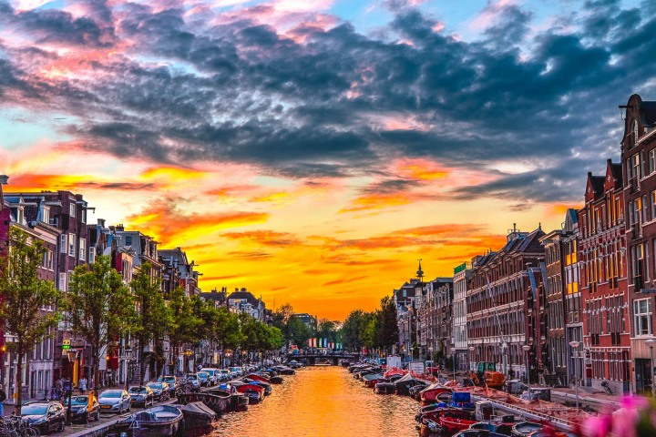 Amsterdam, Canal, Europe, Netherlands, Sunset, Travel