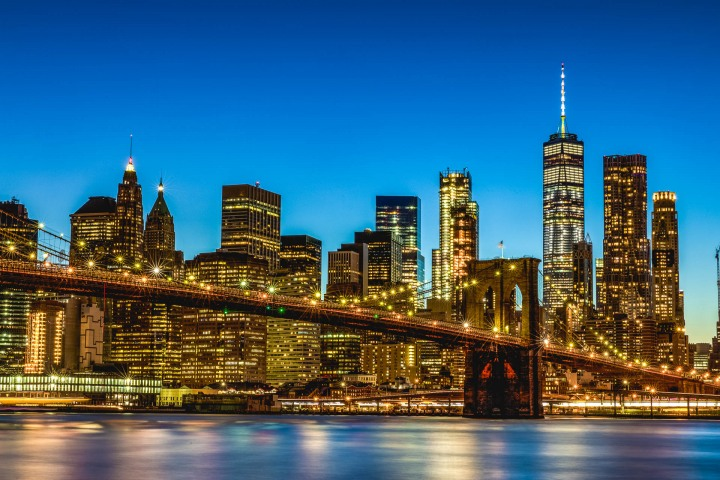 AGP Favorite, Brooklyn Bridge, New York City, North America, NYC, One World Trade Center, Skyline, Sunset, Travel