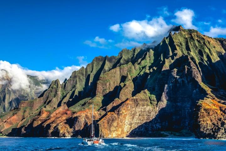 AGP Favorite, Catamaran, Hawaii, Kauaii, Nā Pali Coast, North America, Sea Cliff, Travel, United States, volcanic mountains