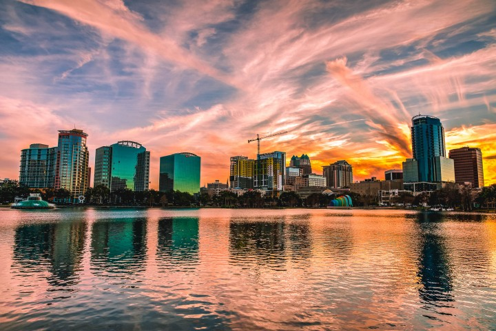 Downtown, Florida, Lake Eola, North America, Orlando, Skyline, Sunset, Travel