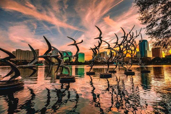 AGP Favorite, Downtown, Florida, Lake Eola, North America, Orlando, Skyline, Sunset, Travel