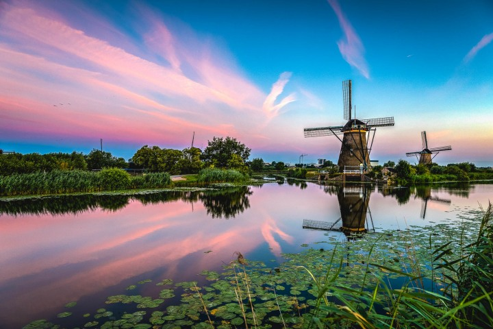 Europe, Kinderdijk, Netherlands, Sunrise, Travel, Windmills