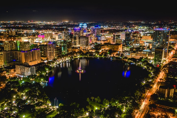 Aerial Photography, AGP Favorite, Downtown, Florida, Lake Eola, Long Exposure, North America, Orlando, Travel, United States