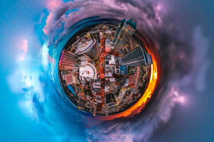 Aerial Photography, Downtown, Florida, Lake Eola, North America, Orlando, Skyline, Sunset, Thunderstorm, Travel, United States