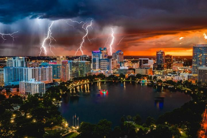 Aerial Photography, AGP Favorite, Downtown, Florida, Lake Eola, North America, Orlando, Skyline, Sunset, Thunderstorm, Travel, United States