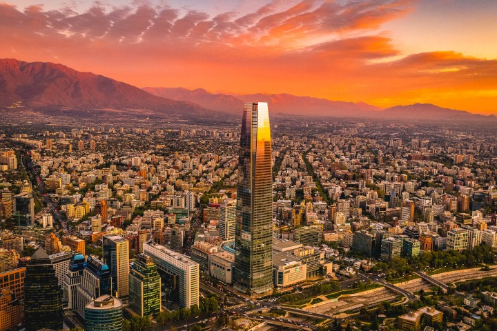 Aerial Photography, AGP Favorite, Chile, Gran Torre, Santiago, Skyline, South America, Sunset, Travel