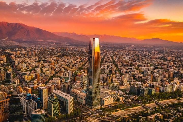 Aerial Photography, AGP Favorite, Chile, Gran Torre, Santiago, Skyline, South America, Sunset, Travel