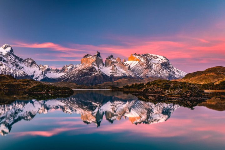 Chile, Mountains, Patagonia, South America, Sunset, Torres del Paine, Travel