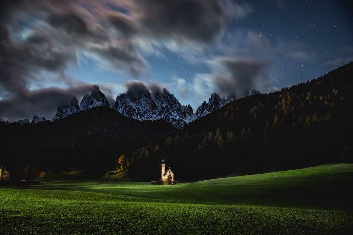 Dolomites, Europe, Furchetta, Italy, Kirche St. Johann in Ranui, Long Exposure, Moonlight, Mountains, Sass Rigais, South Tyrol, St. Maddalena, Travel