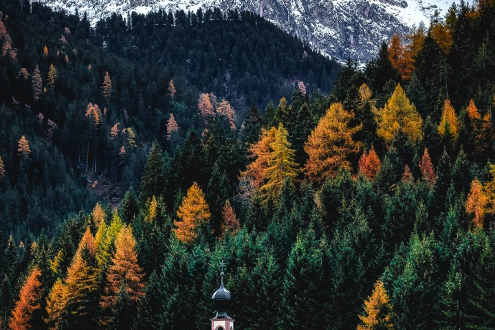 Autumn, Dolomites, Europe, Fall Colors, Furchetta, Italy, Kirche St. Johann in Ranui, Mountains, Sass Rigais, South Tyrol, St. Maddalena, Travel