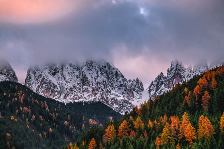 AGP Favorite, Autumn, Dolomites, Europe, Fall Colors, Furchetta, Italy, Kirche St. Johann in Ranui, Mountains, Sass Rigais, South Tyrol, St. Maddalena, Sunrise, Travel