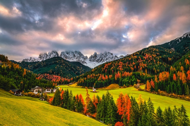 Autumn, Dolomites, Europe, Fall Colors, Furchetta, Italy, Kirche St. Johann in Ranui, Mountains, Sass Rigais, South Tyrol, St. Maddalena, Sunrise, Travel