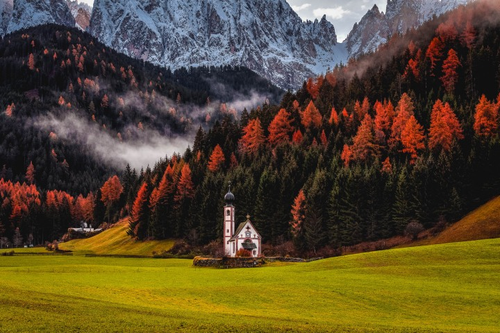 AGP Favorite, Autumn, Dolomites, Europe, Fall Colors, Furchetta, Italy, Kirche St. Johann in Ranui, Mountains, Sass Rigais, South Tyrol, St. Maddalena, Travel