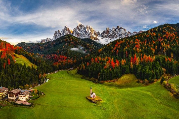 Aerial Photography, AGP Favorite, Autumn, Dolomites, Europe, Fall Colors, Furchetta, Italy, Kirche St. Johann in Ranui, Mountains, Sass Rigais, Snow Covered, South Tyrol, St. Maddalena, Travel