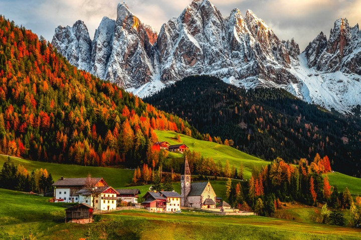 AGP Favorite, Autumn, Dolomites, Europe, Fall Colors, Furchetta, Italy, Mountains, Santa Maddalena Church, Sass Rigais, Snow Covered, South Tyrol, St. Maddalena, Travel