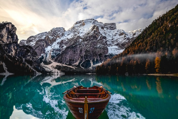 Dolomites, Europe, Italy, Lago di Braies, Reflections, Snow Covered, South Tyrol, Travel