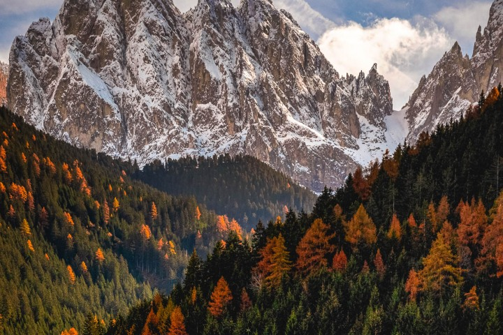 Autumn, Dolomites, Europe, Fall Colors, Furchetta, Italy, Kirche St. Johann in Ranui, Mountains, Sass Rigais, Snow Covered, South Tyrol, St. Maddalena, Travel
