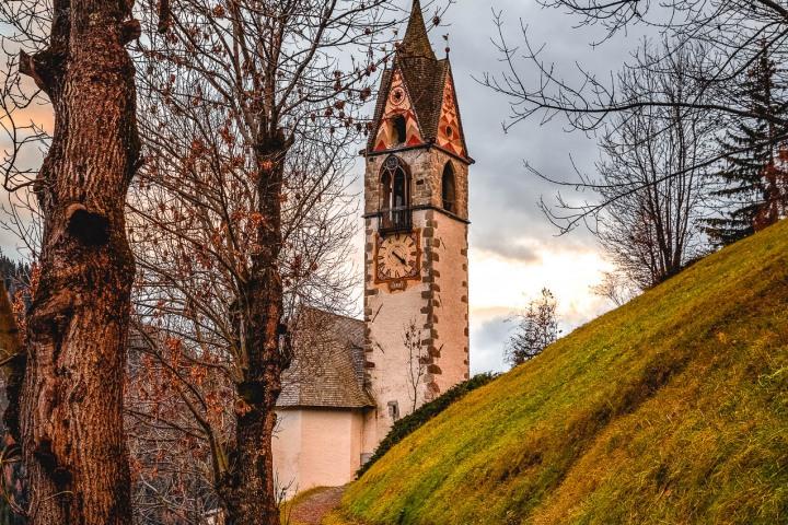 Autumn, Chiesa Santa Barbara, Dolomites, Europe, Italy, South Tyrol, Travel