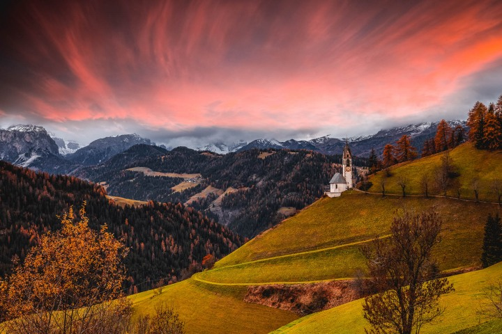 AGP Favorite, Autumn, Chiesa Santa Barbara, Dolomites, Europe, Italy, South Tyrol, Sunset, Travel