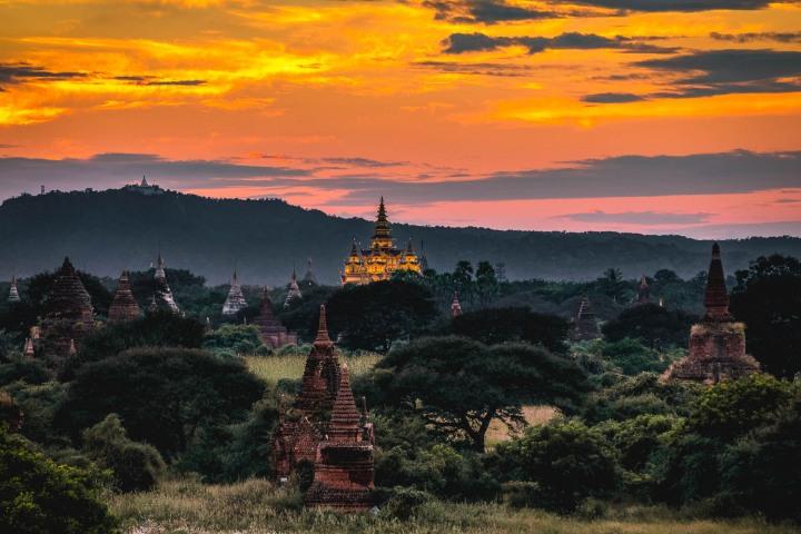 Asia, Bagan, Bagan Golden Palace, Burma, Myanmar, Old Bagan, Pagoda, Sunset, Temple, Travel