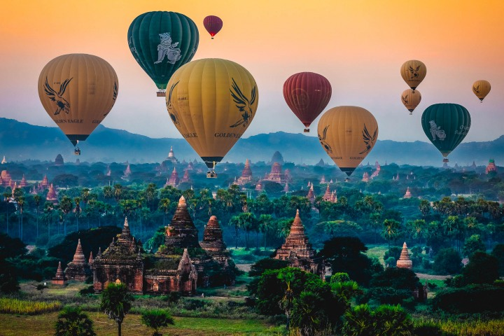 AGP Favorite, Asia, Bagan, Burma, Hot Air Balloon, Myanmar, Old Bagan, Pagoda, Sunrise, Temple, Travel