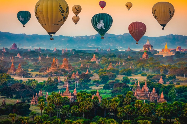 Asia, Bagan, Burma, Hot Air Balloon, Myanmar, Old Bagan, Pagoda, Sunrise, Temple, Travel