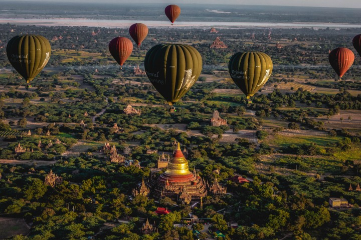 AGP Favorite, Asia, Bagan, Burma, Dhammayazika Pagoda, Hot Air Balloon, Myanmar, Old Bagan, Pagoda, Temple, Travel