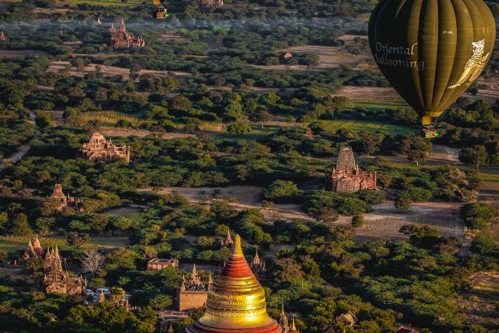 AGP Favorite, Asia, Bagan, Burma, Dhammayazika Pagoda, Hot Air Balloon, Myanmar, Old Bagan, Pagoda, Temple, Travel