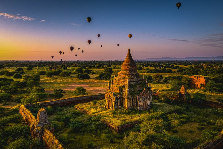 Asia, Bagan, Burma, Hot Air Balloon, Myanmar, Old Bagan, Pagoda, Temple, Travel