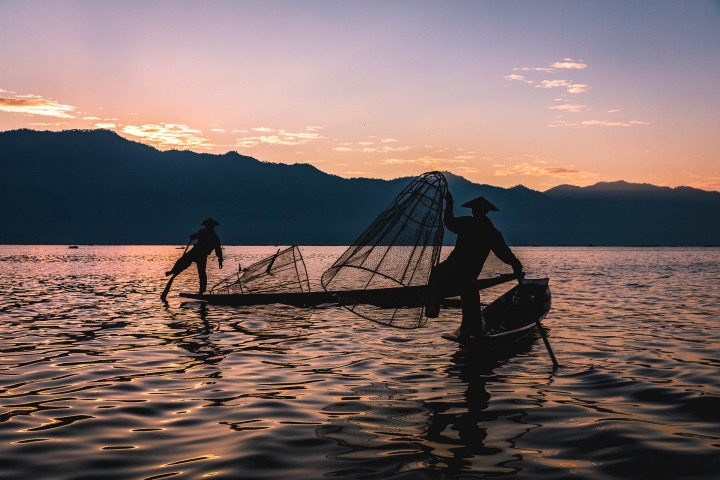 Asia, Burma, Burmese fishermen, Inle Lake, Myanmar, Sunrise, Travel