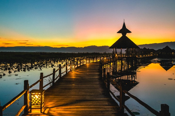 Asia, Burma, Inle Lake, Myanmar, Resort, Sunset, Travel